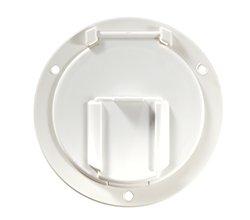 (RV Designer B130, Round Electrical Cable Hatch, Low Profile, 4.6 inch Diameter, Polar White)