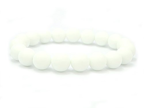 (jennysun2010 Handmade Natural Matte Frosted White Alabaster Gemstone Round Beads 10mm Stretchy Bracelet Healing 8.5'' Inches Wrist (22pcs Beads in the Bracelet))