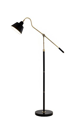 Metal Matte Floor Lamp - Catalina 19945-000 Nelson Adjustable Antique Brass and Matte Black Metal Floor Lamp, 60.25