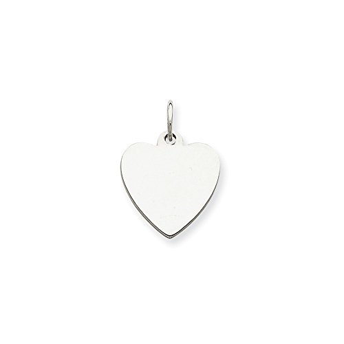 Sterling Silver Engravable Heart Disc Charm (15 x 14mm)