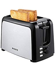 NOVETE 2-Slice Extra Wide Slot Toaster, Stainless Steel Toaster, Defrost/Reheat/Cancel Functions, 7 Bread Shade Settings, Removable Crumb Tray, Compact Toaster for Bagels, Waffles and Pastries
