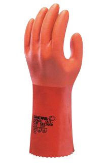 SHOWA Best® Glove Size 11 Orange Atlas® 12'' Cotton Knit Lined Cotton And PVC Fully Coated Chemical Resistant Gloves With Rough And Textured Finish And Gauntlet Cuff