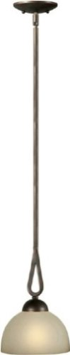 Forte Lighting 2474-01-32 1-Light Transitional Mini-Pendant, Antique Bronze Finish with Shaded Umber Glass