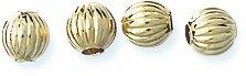 Shipwreck Beads Metal Brass Fluted Round Bead, 4mm, Metallic, Gold, 100-Piece ()