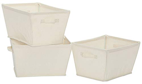 STORAGE MANIAC Large Heavy-Duty Collapsible Canvas Tapered Storage Bin with Handles, White, 3-Pack ()