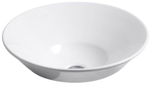 KOHLER K-2200-0 Conical Bell Vessels Above Counter or Wall Mount Bathroom Sink, White ()