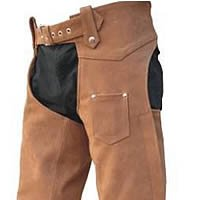 Unisex Heavy Duty BROWN Premium Buffalo Leather Motorcycle Chaps inner-lining, YKK hardware