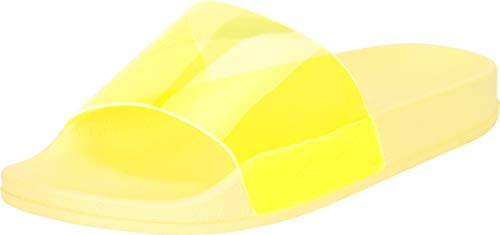 Cambridge Select Women's Open Toe Single Band Clear See-Through Slip-On Flat Slide Sandal,9 B(M) US,Lime