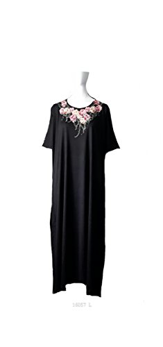 Femmes 65% Polyester/35% Cotton Knit Broderie Long Kaftan/Robes. One Size