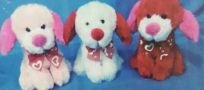 Valentine's Day Plush Sitting Puppy Assorted - Red/Pink/White -3 (3 Assorted Sitting Dogs)