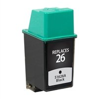 LD © Remanufactured Replacement for Hewlett Packard 51626A (HP 26) Black Inkjet Cartridge for use in HP Apollo P1200, DesignJet 200, 220, 600, Deskjet 1st, Plus, 400, 400L, 420, 420C, 500, 500C, 510, 520, 540, 540C, 550, 550C, 560, 560C, DeskWriter 1st, C, C510, C520, C540, C550, C550C, C560, C560C, 510, 520, 520C, 540, 540C, 550, 550C, 560, 560C, FAX 200, 300, 310, 700, 750, 900, 950, and OfficeJet AIO 1st, LX, 300, 330, & 350 Printers