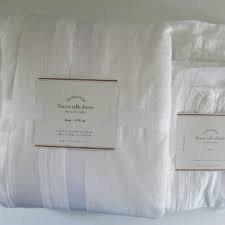Pottery Barn LINEN With SILK TRIM Duvet Cover Full/Queen & Two Standard Shams~*White*~ (Linen Silk Barn Duvet Pottery)