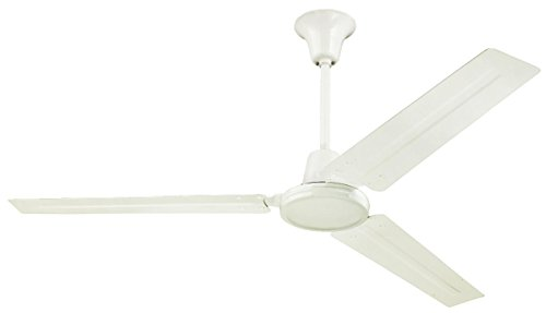 7840900 Industrial 56-Inch Three-Blade Indoor Ceiling Fan, White with White Steel Blades
