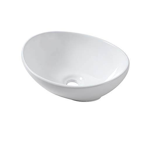 Lordear 16''x13'' Egg Shape Modern Bathroom Above White Porcelain Ceramic Vessel Vanity Sink Art Basin by Lordear