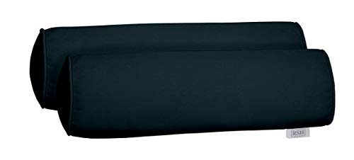 tdoor Set of 2 Corded Bolster Neckroll Pillows Made from Performance Midnight Velvet Fabric- Choose Size (20