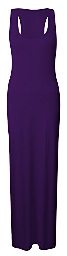 Dress Crazy Back Jersey Maxi Girls Long Racer Ladies Womens Purple Z88rqI