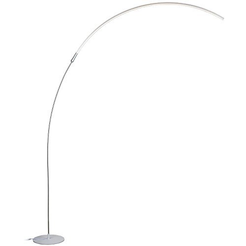 Brightech Sparq Arc LED Floor Lamp - Curved, Contemporary Minimalist Lighting and Home Accessories for Interior Design - Glowing Warm White Light - Energy Efficient Dimmable Arched Floor Lamp – Silver