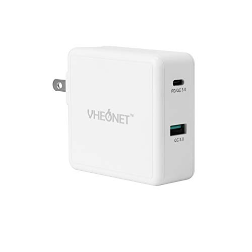 USB C Charger,VHEONET 49.5W Dual Port Charger with a 30W USB C Port,Foldable Travel Charger for USB-C Laptops,MacBook,iPad Pro,iPhone,Galaxy,Pixel and More