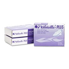 Naturelle Plus 25189973 Sanitary Napkins w/ Wings, Dispenser Refill, 250/CT, White
