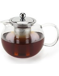 (CozySeeker 1000ML Glass Teapot with Removable Stainless Steel Infuser and Warmer)