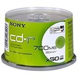 Sony CD enregistrable imprimable Spindle de 50 -R 700 Mo Surface imprimable (Jet D'encre) 50Q80SPMD-IP