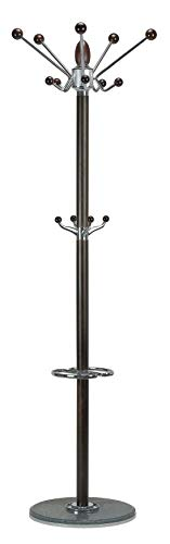 (Cortesi Home CH-CR420740 Lava Coat Rack with Marble Base, Chrome/Dark Walnut)