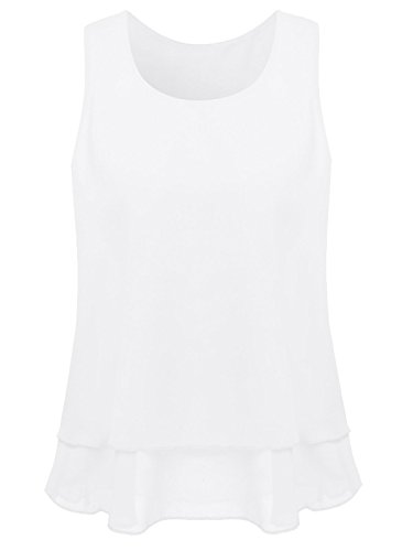Women's Sleeveless Chiffon Layered Cami Tank Top (White,M)