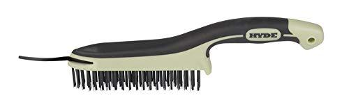 (Hyde 46834 High-Carbon Steel Wire Brush with Scraper, 11-3/4-inch, MAXXGRIP PRO )