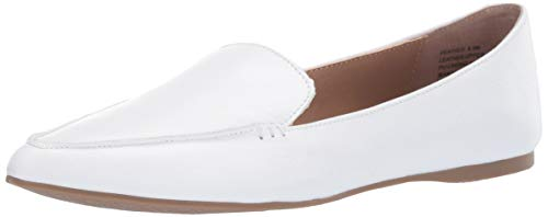 Steve Madden Women's Feather Loafer Flat, White Leather, 7 M US
