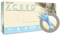 Microflex XC-310-L Blue Nitrile XCEED Exam Gloves, Powder-Free, Large, 235 mm Large (Pack of 2500)
