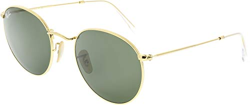 RAY-BAN RB3447 Round Metal Sunglasses, Gold/Green, 53 mm (Ray Ban Round Metal Green)