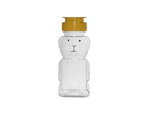 WM (Set of 24) 8 fl oz (12 oz of honey) Refillable, Reusable, Empty Clear PET Honey Bear Plastic Bottles w/ Yellow Flip Top Lined Caps. Used for Honey, Juice, Arts & Crafts and More (Honey Bottles)