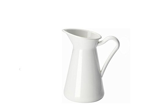 SOCKERART French Country Style Water Pitcher Enamel Coated Safe for Food or Decorative Vintage Vase Use 6.5 Tall White