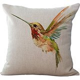 Decorative Pillow Cover - Oil Painting Bird Hummingbird Throw Pillow Case Cushion Cover Decorative Cotton Blend Linen Pillowcase for Sofa 18