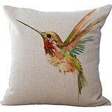 OebTrol Oil Painting Bird Hummingbird Throw Pillow Case Cushion Cover Decorative Cotton Blend Linen Pillowcase for Sofa 18