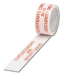 Spicers Printed Tape Contents Checked Polypropylene 50Mm X 66M Red On White  Pack 6