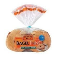 Thomas 100 Percent Whole Wheat Thin Bagel, 1.63 Ounce -- 128 per case. (Best Whole Wheat Bagels)