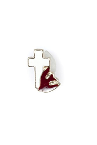 White Enameled Gold Cross with Red Enameled Holy Spirit Lapel Pin Gold Cross