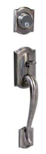 Schlage F62-CAM-GEO Camelot Double Cylinder Handleset with Georgian Interior Kno, Antique Pewter