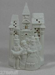 PartyLite Holiday Christmas Bisque Village Carolers P0204 Candle Tealight Holder by Partylite