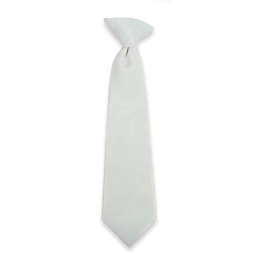 Clip-On Tie For Boys. Gift Boxed Necktie. Solid Colors Available - Off White from boxed-gifts