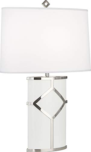 - Robert Abbey 2277 Diamond - One Light Table Lamp, White Lacquered Paint/Polished Nickel Finish with Oval Ascot White Fabric Shade