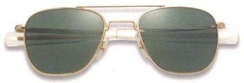 AO Eyewear American Optical - Original Pilot Aviator Sunglasses with Bayonet Temple and Silver Frame, Cosmetan Brown Glass Lens