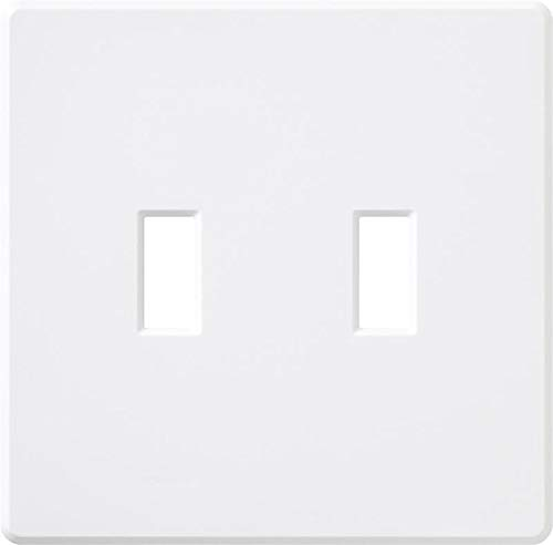 ((5 pc) NEW Two 2-Gang Screwless Wallplate Toggle Switch White Wall Plates)