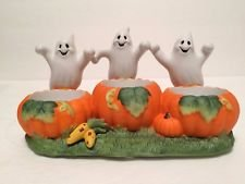 Partylite Ghost Trio Tealight Candle Holder Porcelain Halloween P7262 ()