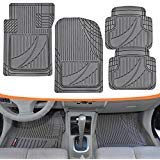 Motor Trend FlexTough Advanced Performance Mats - 4pc HD Rubber Floor Mats for Car SUV Auto All Weather Plus (Gray) (MT-794-GR) (2016 Toyota Tacoma All Weather Floor Mats)