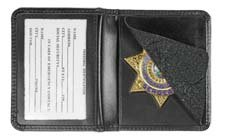Hero's Pride Leather Badge Holder 7 Pointed Star Compact, Low Profile Case with Single Id Window