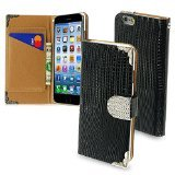Asmyna Crocodile Skin MyJacket Wallet with Metal Diamonds Buckle and Silver Plating Tray for iPhone 6 - Retail Packaging - Black/Silver