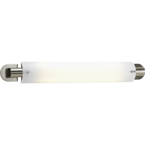 Light Fluorescent Bath Bar - Progress Lighting P7236-09 Two-Light Linear Fluorescent with White Acrylic Diffuser and Stylish Brushed Nickel