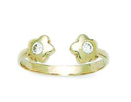14k Yellow Gold Cubic Zirconia Top Adjustable Double Flowers Body Jewelry Toe Ring